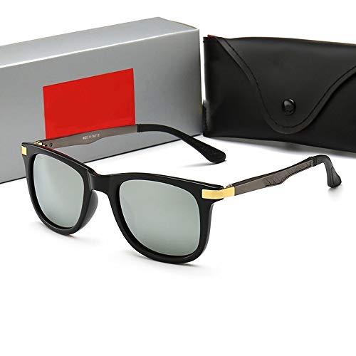 FORTINGBAR Mode Retro Classic Sonnenbrillen für Frauen, Urlaub Sonnenbrillen Rahmenmaterial: Kunststoff (Farbe : Black frame/silver)