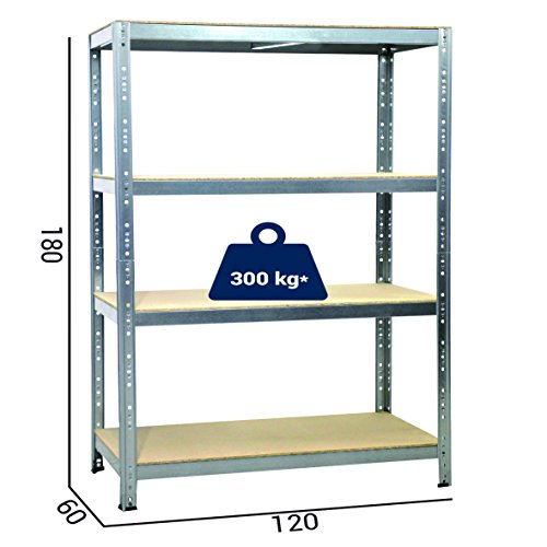 Grima kit-jszn42 scaffale metallico, zincato, cm 120 x 60 x 180h