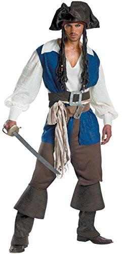 Honeystore Herren's Piraten-Kostüm Herren 7 tlg. Fasching Karneval Verkleidung Hut, Oberteil, Weste, Hose, Gürtel, Ledergürtel und Überstiefel M
