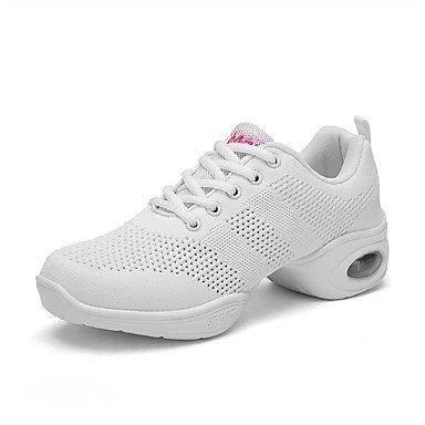Wuyulunbi@ Donne's Dance Sneakers Tulle Sneaker pratica faccia fuori cava tacco piatto Bianco Nero Rosso 1 US6 / EU36 / UK4 / CN36