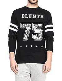 Veirdo Printed Full Sleeve Black Round Neck Men's Cotton Tshirt - B01NAFT81I