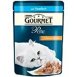 Gourmet Perle Katzenfutter Erlesene Streifen mit Thunfisch, 24er Pack (24 x 85 g) Beutel