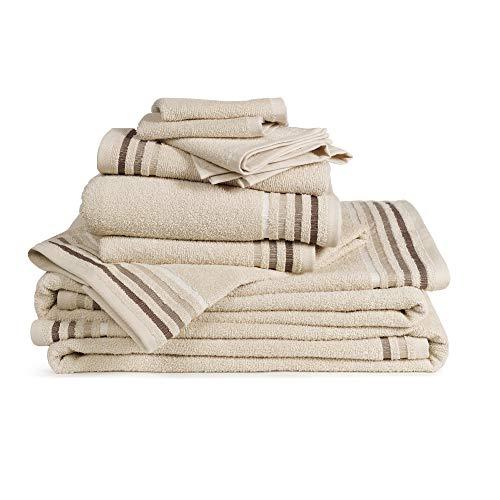 Set 10 pezzi spugna bassetti: 4 lavette 30x30, 2 asciugamani ospite 30x50, 2 asciugamani 50x100, 2 teli bagno 70x140 (corda)
