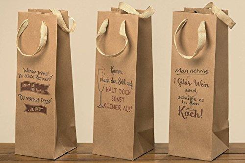 in/Sektflaschen Tasche 37cm witziger Spruch Geschenkverpackung (Komm mach den Sekt auf) ()