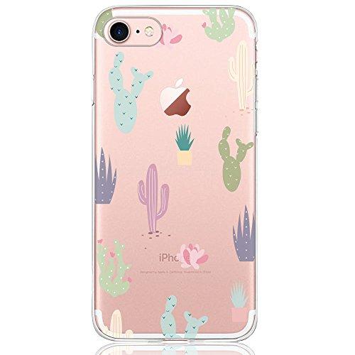 DAPP® kompatibel mit iPhone 7/8 Hülle, Dolce Vita Serie Transparente Silikon Handyhülle für Damen/Mädchen, Durchsichtig mit Bunt Kaktus Blumen Muster