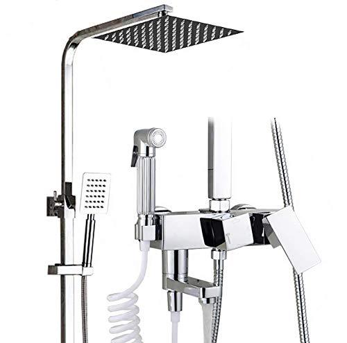 R&P Duschset, Square Shower Mixer Multifunktions-Vierstufeneinstellung, Spritzpistole Badezimmer Kupferhahn, Silikon-Wasserdüse (Badewanne Wasserdüsen)
