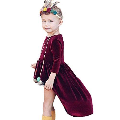 g Kleinkind Baby Einzigartig Kleid Infant Übergang Tüllkleid Kinder Langarm Abendkleider Mädchen Kindermode Einfarbig Tops Mädchenröcke Outfits Kleidung Mädchenkleider Trägerkleid (Wein, 80) (Einzigartige Outfit-ideen)