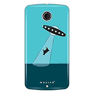 Mozine Alien Abducting Cow Printed Mobile Back Cover For Google Nexus 6