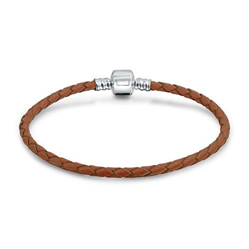 Bling jewelry di cacao in cuoio intrecciato 925 canna bracciale chiusura 7in