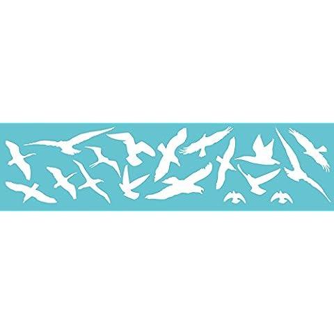 Uccelli e finestra protezione, colori a scelta, Set di 18uccello adesivo uccelli warning, inverno giardino, Plastica, weiss (glanz), 18 Stück