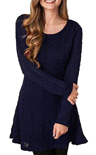 Brinny Femme Sweater Tricot Lâce Manche longue Haut Pull Mini-robe Cardigan Sweats 7 Couleur 5 Taille: S-2XL Bleu Foncé
