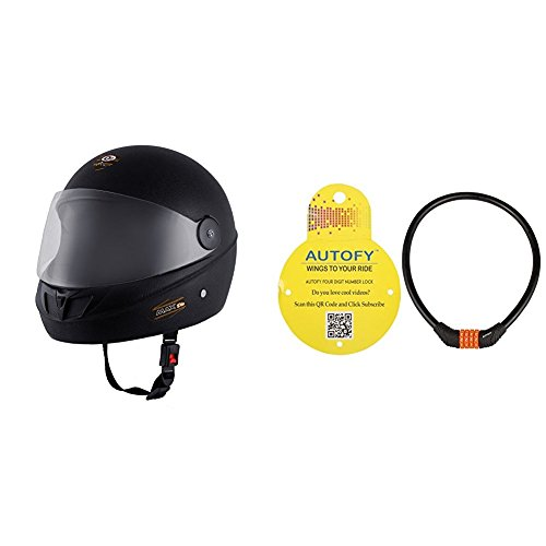 Autofy O2 Max DLX Full Face Helmet With Scratch Resistant Visor (Matte Black,M) and Autofy 4 Digits Universal Multi Purpose Steel Cable (Black and Orange) Bundle