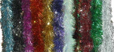 10 pack LUXURY TINSEL RED/SILVER 6PLY X 2.24M 16CM