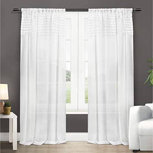 Exclusive Home Vorhänge Barcelona Sheer Fenster Vorhang Panel Paar, Polyester, Winter-Weiß, 50x84 -