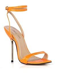 CHMILE Chau-Zapatos para Mujer-Sandalias de Tacon Alto de Aguja Metálico-Sexy-Vestido de Fiesta-Tira de Tobillo…