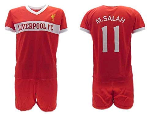 Komplett Offiziell Fußball Mohamed MOMO Salah 10 Liverpool Trikot Rot Saison 2018-2019 Replica OFFIZIELLE mit Lizenz - Geschenkbox Shirt + Shorts (10 Jahre)