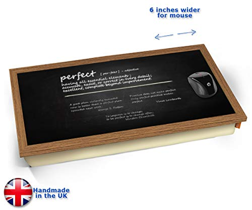 Perfect Definition Cushioned Bean Bag Laptop Lap Tray Desk - Built-in EMF Shield (Electro Magnetic Field) Kissen Tablett Knietablett Kissentablett - Holz Effekt Rahmen