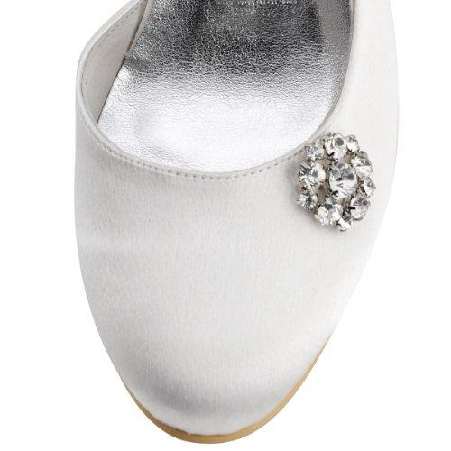 ElegantPark E0618 Escarpins en satin noeud strass bout ferme a enfiler Femme Chaussures de mariee mariage Blanc
