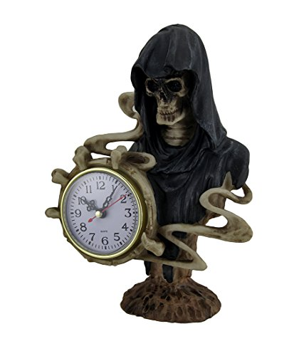 Zeckos Kunstharz Tisch Uhren Zeit der Dunkelheit Sensenmann Halten Uhr Dekorative Tischplatte Uhr, die 18,4x 25,4x 8,9cm Schwarz
