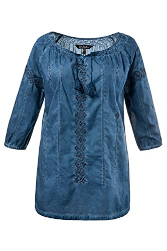 Ulla Popken Femme Grandes tailles Tunique cold dyed brodée à manches 3/4 et col rond 705070 bleu océan
