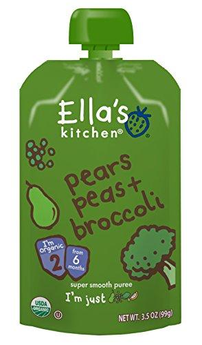 Ella's Kitchen, Aliments biologiques pour bébés, 4mois et plus, Poires Brocoli Pois +, 3.5 oz (99 g)