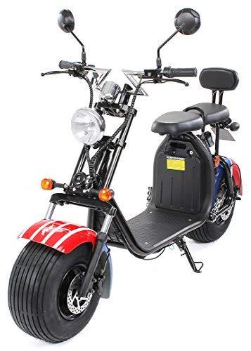 eFlux Harley Two Elektro Scooter 1500 Watt 60 Volt 20AH mit Straßenzulassung 35 Kilometer Reichweite viele Farben (American Flag)