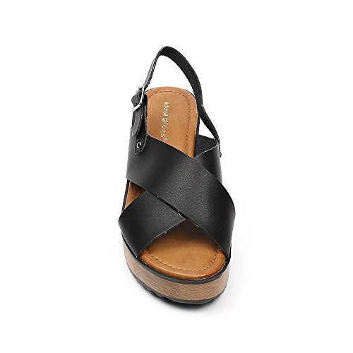 Ideal Shoes, Damen Sandalen Schwarz
