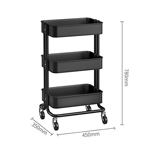 Duo Bücherregal 3-Tier Metall Utility Service Aufbewahrungsregale Utility Cart 3-Tier Metall Rollwagen mit Rädern Hängeregal, (Farbe : Gray) (3-tier-bücherregal-regal)