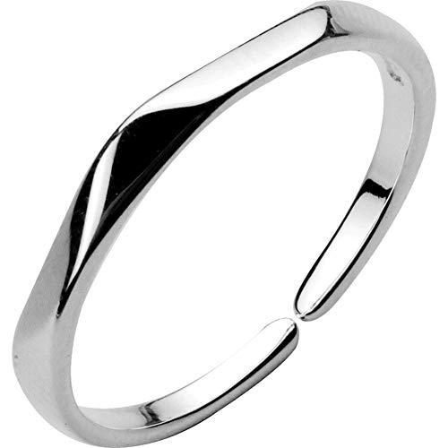 S925 Silberringe, Weibliches Einfaches Gesicht PersöNlichkeit Glatt Offenen Schwanz Ring,Silber,Einheitsgröße