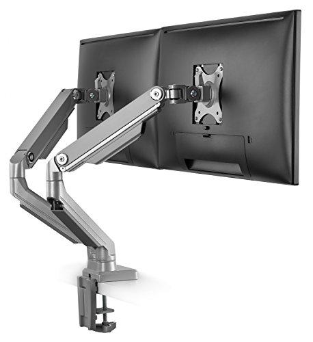 """RICOO Universal Monitor Halterung 2 Bildschirme TS8811 Mechanische Feder Schwenkbar Neigbar Dual Monitorhalterung LCD Curved Bildschirmhalterung VESA 75x75 100x100 33-69cm / 13""""-27"""" Zoll Silber Grau"""