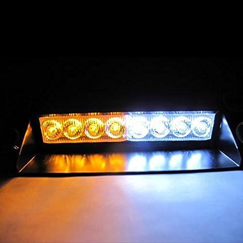 ZYHW Warning Caution Van Truck 8-led Emergency Strobe Light Flash Lamp Mini Bar (Amber /White)