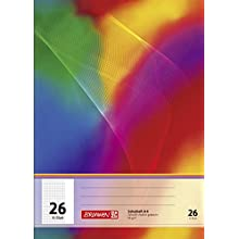 Brunnen A4 Exercise Book 16 Sheets, 5 mm, Square Ruled with Margin, 26 Lines per Page, 104492602