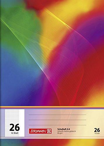 4 Im Rand (Brunnen 104492602 Schulheft A4 (16 Blatt, 5 mm kariert, mit Rand, Lineatur 26))