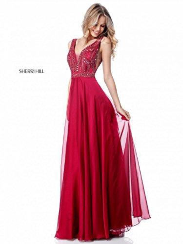 Sherri hill abito da sera color rubino con applicazioni sul bustino e scollo profondo 44