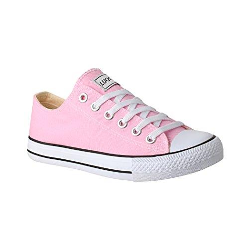 Elara Unisex Sneaker | Bequeme Sportschuhe für Damen und Herren | Low Top Turnschuh Textil Schuhe 089-A Pink-41