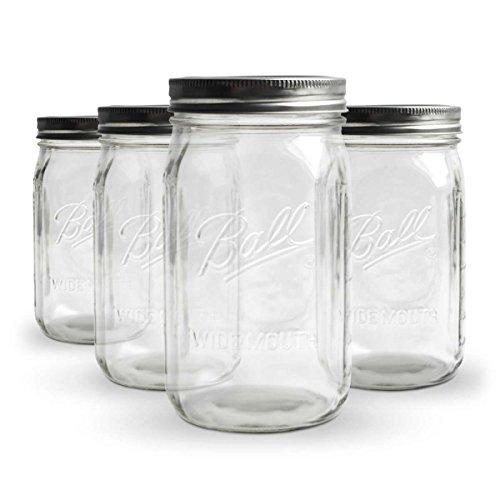 KoRo ● Ball Mason Jar Wide Mouth ● 4er Set ● Einmachglas ● 945 ml ● 32 oz ● Luftdicht Verschließbar ● Spülmaschinenfest
