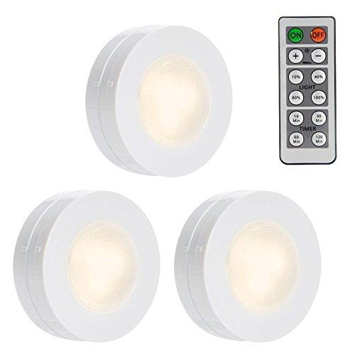 LED Unterbau Lichter, Lunsy Nachtlicht, Schrank Beleuchtung, Wandbeleuchtung mit Fernbedienung, dimmbares Unterschrank Beleuchtung, Batteriebetriebene Lampe (3er)