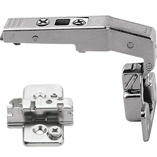 Gedotec Möbel-Scharnier für Vitrine Türband für Küchen-Schrank Topfband Montieren - Clip Top | 95° | mit Feder | Stahl vernickelt | mit Grundplatte | 1 Set