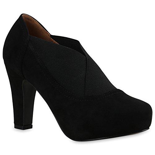 Damen Stiefeletten Ankle Boots Schnürstiefeletten Retro Style Schwarz Elastikband