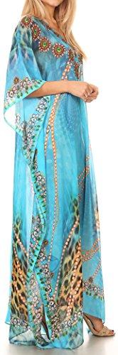 Sakkas Wilder gedruckte Entwurf lange schiere Strass Kaftan Kleid / Vertuschung 17140-TurquoiseOrange