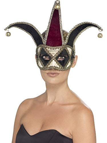 Fancy Me Damen Herren Gothik Harlekin Halbschuhe mittelalterlich Hof Hofnarr Halloween Maskenball Kostüm Maske