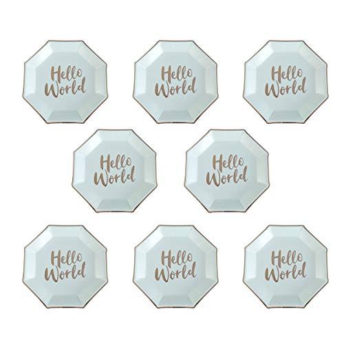 BESTOYARD 8 stücke Einweg Papier Party Platten Metallic Dekorative Geschirr für Geburtstagsfeiern Baby Duschen Grad Parteien Hochzeiten (Papier Dekorative Platten)