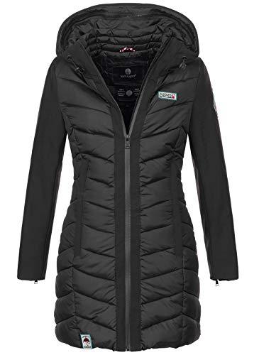 Navahoo Damen Wintermantel Mantel Steppmantel warm Winter Jacke lang Stepp B674 [B674-Fluss-Schwarz-Gr.M]