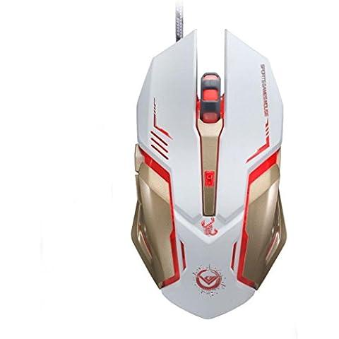 Gaming Mouse Wireless Mice,Ouneed® 3500 DPI 6 Pulsante Ottico Personalizzato Macro USB Wired Gaming Acciaio Mouse del Mouse (Bianca)