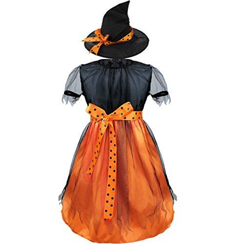 CHICTRY Baby Mädchen Kleid Taufkleid Festlich Kleid Kleinkind Festzug Halloween Fasching Cosplay Karneval Kostüm Schwarz + Orange (Kostüme Festzug Für Halloween)