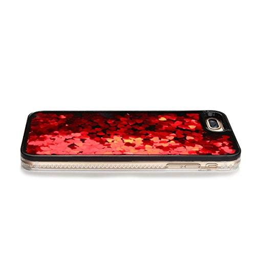 Cover iPhone 7 plus Custodia iPhone 7 plus Liquido Anfire Trasparente Rigida Duro Plastica PC Case per Apple iPhone 7 plus (5.5 Pollici) Sabbie Mobili Shell 3D Bling Glitter Floating Quicksand Copertu Rosso Cuore