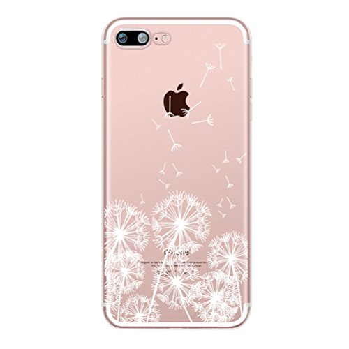 Coque iPhone 7 avec Verre Trempé, Bestsky Coque iphone 8 Mandala Transparent Silicone Blanc Henné Fleur Motif Design Slim Cover Case Anti Choc Protecteur Housse pour Apple iPhone 7/8 #15