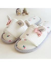 Otoño de mujer y orejas de conejo lindo zapatillas invierno algodón caliente corteza gruesa con medio un pack de zapatillas Casa , pink , 35-36