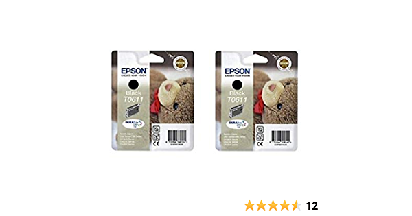 Epson T0611 X2 2x Tintenpatronen Original Schwarz Bürobedarf Schreibwaren
