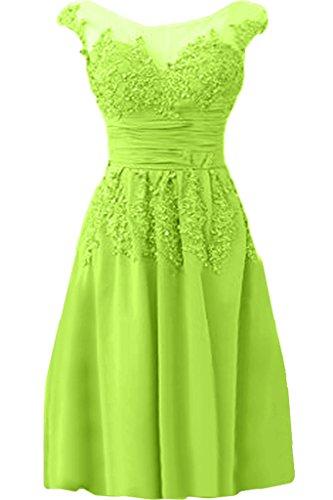 Ivydressing Damen Elegant Spitze Applikation Rundkragen A-Linie Chiffon&Tuell lang Promkleid Festkleid Abendkleid Jaegergruen Kurz